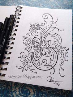 ink flower doodle...