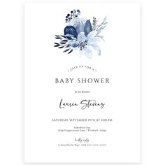 Floral Baby Boy Shower Invitation | Forever Your Prints