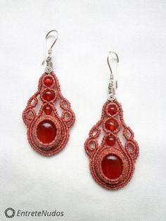 Precious orange macrame earrings with orange Agate by EntreteNudos