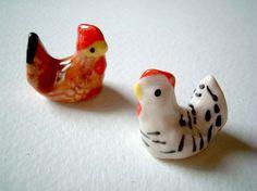 Little Black and White Thai Ceramic Hen ceramic chicken by iammie