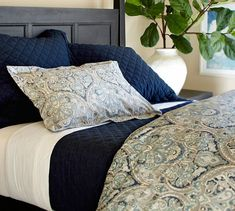 Mackenna Paisley Duvet Cover & Sham - Blue | Pottery Barn. Guest bedroom? White coverlet and dark sheets?