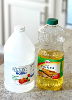 Vinegar and Oil removes waxy, sticky buildup from wood furniture. 3/4 cup of oil and 1/4 cup vinegar - You can use cider vinegar and olive oil...really whatever you have on hand. Mix together and dip a rag in it and simply wipe....