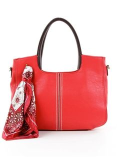 Scarf Decorated Shoulder Bag in Red