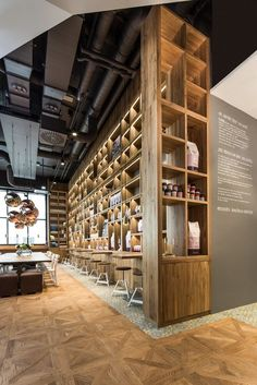 pano BROT KAFFEE, Stuttgart, 2014 - Dittel Architekten Floor to ceiling storage, earthy, and yet not cluttered. Decoration Restaurant, Deco Restaurant, Restaurant Design, Bar Design, Coffee Shop Design, Design Art, Commercial Design, Commercial Interiors, Interior Design Minimalist