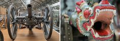 A British cannon and a Burmese dragon gun at Firepower – The Royal Artillery Museum (which has since left London) Hidden London, History Of England, Burmese, Cannon, Guns, Fair Grounds, British, Dragon, Museum