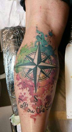 Water color la rosa dei venti tattoo