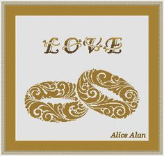 Cross Stitch Pattern Vintage ornamental couple of rings Love Heart Wedding Counted Cross Stitch Pattern/Instant Download Epattern PDF File