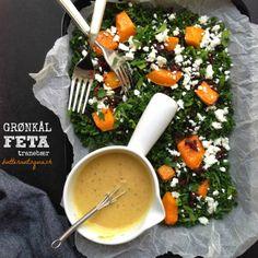 Grønkålssalat med græskar, feta & tranebær