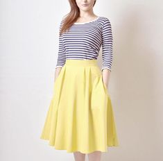 this is really cute; yellow flare skirt