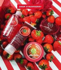 Includes: Strawberry Shower Gel, Mini Strawberry Body Butter, Strawberry Body Polish, Strawberry Soap, & a Red Mini Bath Lily. This gift provides one day of safe water for a family in Ethiopia. The Body Shop Gifts, Body Shop At Home, Body Shop Body Butter, Body Shop Skincare, Sephora, Body Polish, Body Lotions, Shower Gel, Body Wash
