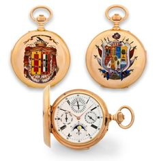 LOUIS AUDEMARS WATCH WITH SIX COMPLICATIONS – DUCAL & VICOMTE ARMS Sold in Paris in 1883 for 2100 Francs. Extremely fine and very rare, large, minute-repeating, 18K rose gold, cloisonnè and painted on enamel, keyless pocket watch with perpetual calendar, moon phases and lunar calendar.