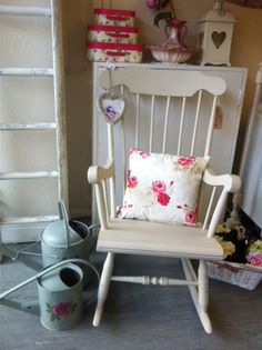 Vintage rocking chair painted with autentico almond chalk paint