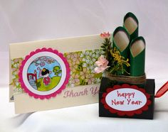 A Kokeshi Box Card for a Special Friend (A Star For Chiemi) Asian Cards, Dandelion Designs, New Year Card, Chinese New Year, Welcome, Scrapbook Pages, Happy New Year, Cardmaking, Embellishments