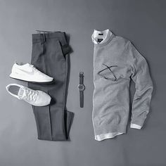 Going Grey in this #Stylish Grid by @silverfox_collective  Follow  @stylishgridgame  Tag  #StylishGridGame   www.StylishGridGame.com  Brands ⤵ ️Sweater = #ADaysMarch ️Shirt = #JCrew #JCrewMens ️Trousers = #Grayers ️Trainers = #Nike ️Watch = #Tsovet ️Wallet = #AboveTheFray