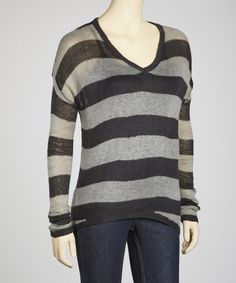 Take a look at this Yoki Charcoal & Heather Grey Stripe Sheer Sweater on zulily today!
