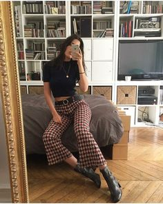 crop check flared trousers