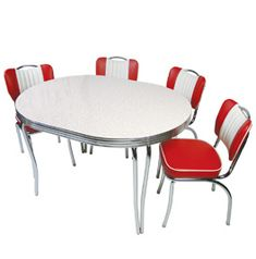 An Oval retro Table with boomerang laminate, and 2.25 inch Retro Metal Banding and the 885 Series Art Deco Retro Legs Retro Dining Rooms, Dinette Sets, Kitchen Chairs, Retro Kitchen Tables, Diner Table, Vintage Kitchen, 1950s Kitchen, Vintage Table, Diner Kitchen