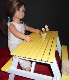 American girl yellow & white wooden picnic table. Available at WOODNTHINGSBYFRANK on ETSY