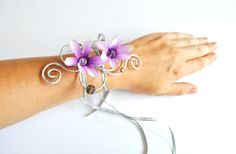 girls arm cuff bracelet purple flowers and by InMyFairyGarden