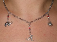 Alabama Crimson Tide charm necklace with glass beads by Shelithas, $14.99