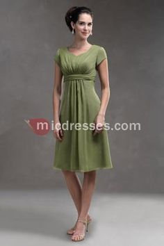Short sleeves green chiffon v-neck A-line pleated belt tea-length Mother Of The Bride Dress MBD257028 - Micdresses.com