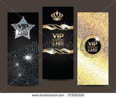 Set of shiny VIP cards - stock vector Vip Card, Black Diamond, Sweet 16, Card Stock, Coins, Royalty Free Stock Photos, Design Inspiration, Deco, Birthday