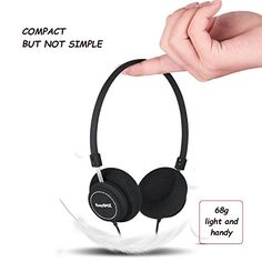 EasySMX M110 Lightweight On-Ear Music Headphone Stylish Fabric Design In-line Control with Microphone for PC/Smartphones/MP4/MP3 3.5mm Plug – Fit Adults and Kids (Black)