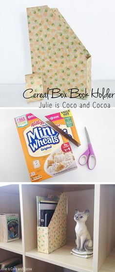 Increase your home book library and keep everything organized with this DIY Cereal Box Book Holder #Back2SchoolReady #ad