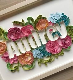 Paper Flowers Discover Quilling name - Nursery sign - Framed baby sign - Floral art Quilling Letters, Paper Quilling Flowers, Paper Flower Art, Paper Quilling Patterns, Quilled Paper Art, Quilling Paper Craft, Quilling Cards, Flower Crafts, Quilled Roses