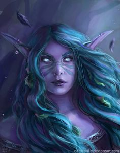 Night Elf Portrait Commission by x-Celebril-x on DeviantArt World Of Warcraft Game, Warcraft Art, Dark Fantasy Art, Fantasy Rpg, Fantasy League, Final Fantasy, Elf Cosplay, Anime Cosplay, Female Elf