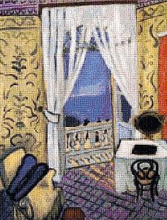 Matisse: Interior with a Violin Case ~   counted cross stitch tapestry at MomWiz.com