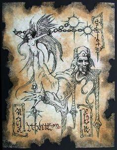 Cthulhu larp Dark Sorcery Necronomicon Fragment occult horror art on Etsy, $10.00