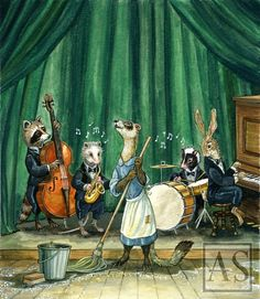 """Flora and the Jazz Boys"" by Astrid Sheckels Surreal Art, Beautiful Artwork, New Beginnings, Printmaking, Amazing Art, Whimsical, Flora, Fan Art, Ferrets"