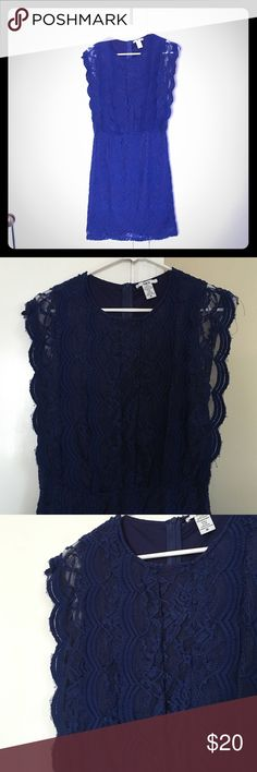 Bright Navy Bar III Lace Dress Nylon and Spandex Sleeveless Lace Dress. Back Zip. Bright Navy with Navy Underlay (very hard to capture the color of this dress properly on camera). Only Worn Once Bar III Dresses Mini