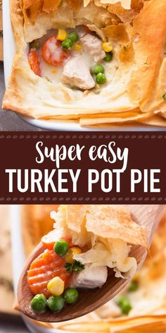 Use leftover turkey and frozen vegetables in this Healthy Easy Turkey Pot Pie recipe for a quick dinner. Uses phyllo sheets and no heavy cream OR butter! Easy Leftover Turkey Recipes, Leftover Turkey Casserole, Leftovers Recipes, Turkey Leftovers, Healthy Turkey Recipes, Turkey Pie, Baked Turkey, Easy Turkey Pot Pie, Easy Pie Recipes