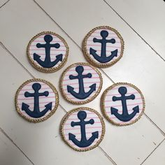 Anchors away bridal shower decorated cookies getting married on a cruise ship Shortbread Cookies, Sugar Cookies, Navy Mom, School Reunion, Custom Cookies, Decorated Cookies, Cakes And More, Anchors, Cut Outs