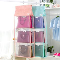 new Oxford cloth wardrobe closet debris Hanging Storage Bag Purse Handbag Tote…