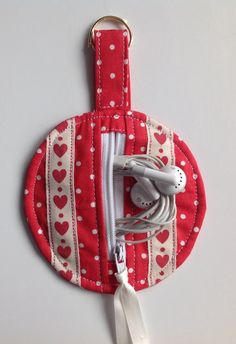 Cath Kidston Red Spot Fabric Circular Zippered Earbud Pouch with Hearts Ribbon by sewmoira on Etsy