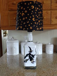 1.75 Lt Jack Daniels Liquor Bottle Lamp-Halloween Hand-Sketched/Painted &  Shade #JackDanielsLiquorbottle