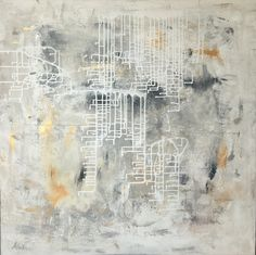 Labirynth painting by Aneta Szczepanska Art, grey, black white with stunning silver and gold. Large 100x100cm canvas.