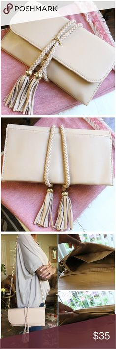 "🆕 2 Colors - Rope Tied Fringe Clutch/Purse LIMITED STOCK. Beautiful! Brand New. Last photo is of the Light Pink colored bag.   Measurements: Chain - 22"" L: 10 1/2"" W: 3""H: 6""   Can be worn as a clutch or crossbody. The chain is removable. :) ❤  ✂️Material: Faux Leather   ❗️I DO reserve items. Just ask, below, in the comment section. 👇🏽  ⚪️Use the ""Buy Now"" or ""Add to Bundle"" button to purchase.   ⚪️MY PRICE IS FIRM. I DO NOT TRADE. I WILL NOT ACCEPT YOUR OFFER. Please respect my business…"
