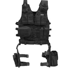 Barska Loaded Gear VX-100 Tactical Vest and Leg Platform-Blk