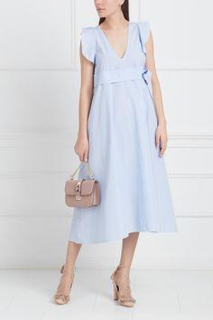 Хлопковое платье No.21 - Хлопковое платье А-силуэта с принтом в бело-голубую полоску в интернет-магазине модной дизайнерской и брендовой одежды