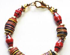 african glass bead bracelet – Etsy