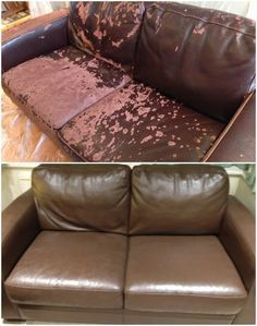 Leather Colourant Kit While looking for a new sofa, Amanda realised that, although the leather was d Paint Leather Couch, Leather Couch Covers, Faux Leather Couch, Restoring Leather Couch, Paint Couch, Diy Couch, Couch Cushions, Couches, Couch Makeover