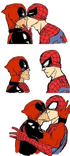 Marvel Universe - Wade Wilson x Peter Parker - Deadpool x Spiderman - Spideypool Deadpool Kawaii, Deadpool X Spiderman, Spiderman Dancing, Cute Deadpool, Spiderman Cute, Marvel Avengers, Peter Spiderman, Avengers Cast, Marvel Jokes