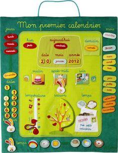 ce panneau calendrier en tissu brod de couleur orange permet l 39 enfant de s 39 organiser sa. Black Bedroom Furniture Sets. Home Design Ideas