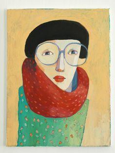 portrait with glasses original painting on canvas. $100.00, via Etsy.