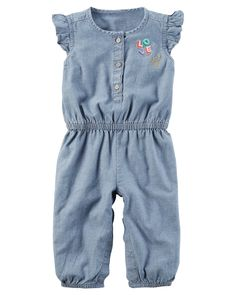 1f548fe1d294 Baby Girl Flutter-Sleeve Chambray Jumpsuit