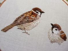 Embroidery : 2 sparrows needle-painting